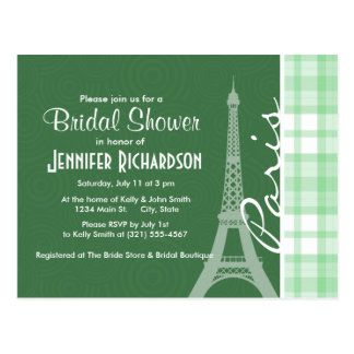 Paris; Light Green Plaid Postcard