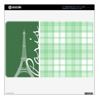 "Paris; Light Green Plaid 11"" MacBook Air Skins"