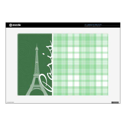 "Paris; Light Green Plaid Skin For 15"" Laptop"