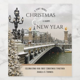 Paris Lights First Christmas New Year Wine Label