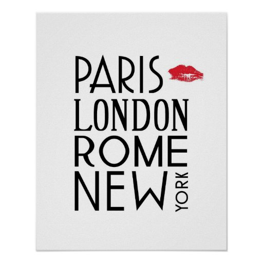 Paris, London, Rome and New York Poster