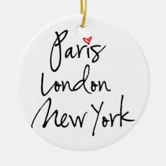 París, Londres, Nueva York Adorno Navideño Redondo De Cerámica
