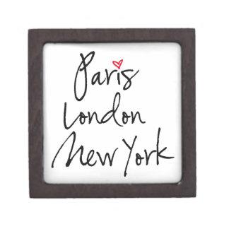 París, Londres, Nueva York Cajas De Recuerdo De Calidad