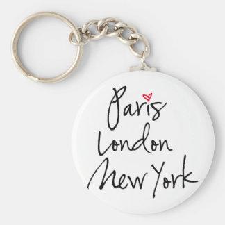 París, Londres, Nueva York Llavero Redondo Tipo Pin