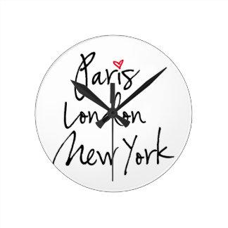 París, Londres, Nueva York Reloj Redondo Mediano