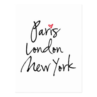 París, Londres, Nueva York Tarjeta Postal