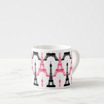 Paris Love, Eiffel Tower in black and pink,  mugs