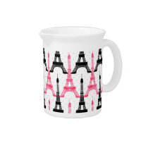 Paris Love, Eiffel Tower in black and pink,pitcher Pitcher