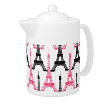 Paris Love, Eiffel Tower in black and pink, Teapot