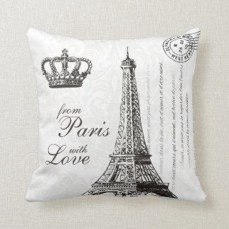Paris Love Typography Vintage French Eiffel Tower Throw Pillow