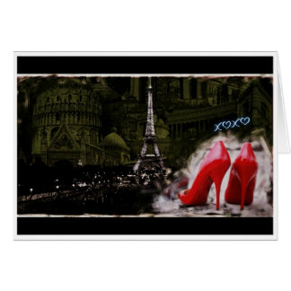 Paris Love with Red Heels Greeting Card