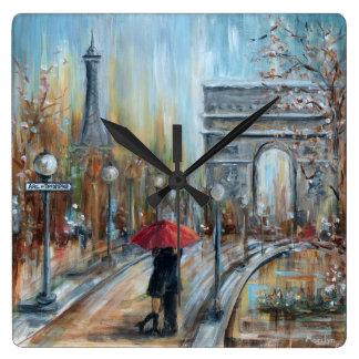 Paris Lovers Square Wall Clock