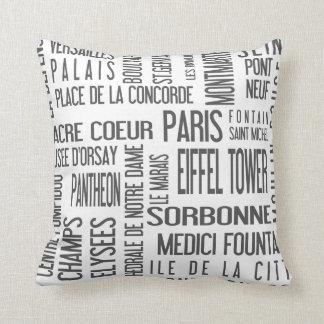 París, lugares famosos en una almohada