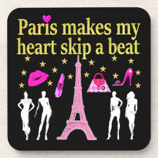 PARIS MAKES MY HEART SKIP A BEAT BEVERAGE COASTER