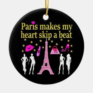 PARIS MAKES MY HEART SKIP A BEAT CERAMIC ORNAMENT