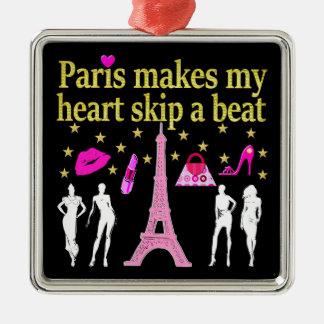 PARIS MAKES MY HEART SKIP A BEAT METAL ORNAMENT