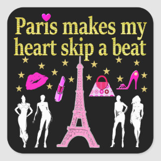 PARIS MAKES MY HEART SKIP A BEAT SQUARE STICKER