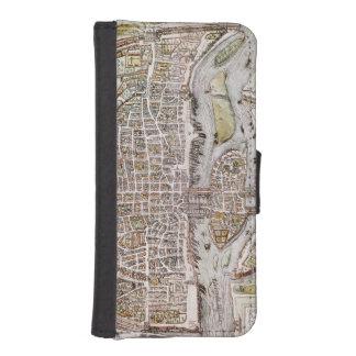 PARIS MAP, 1581 WALLET PHONE CASE FOR iPhone SE/5/5s