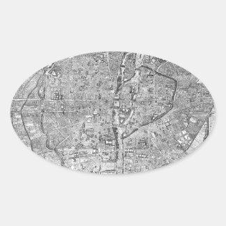 Paris Map 1652 Oval Sticker