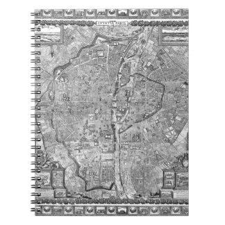 Paris Map 1652 Spiral Notebook