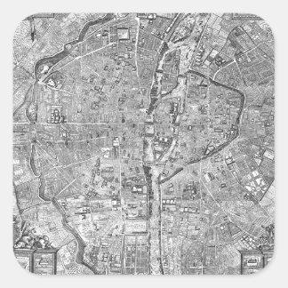 Paris Map 1652 Square Sticker