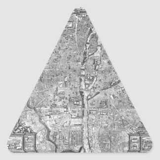 Paris Map 1652 Triangle Sticker