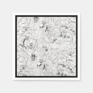 Paris Map Paper Napkin