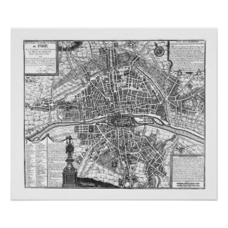 París - mapa del vintage (plan de París, Póster