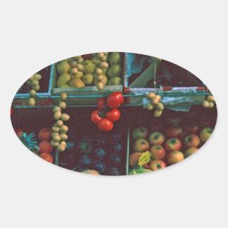 Paris Market Fruit Display TomWurl Oval Sticker