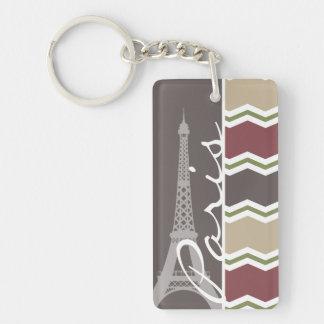 París; Marrón, Brown, moreno, y Chevron verde Llavero Rectangular Acrílico A Doble Cara