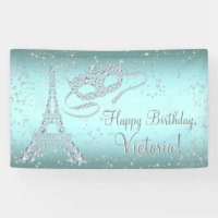 Paris Masquerade Birthday Party Banner