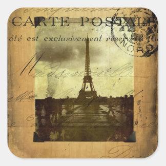 París matasellada pegatina cuadrada