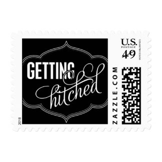Paris Metro - Getting Hitched - Black Postage Stamps
