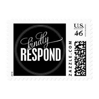 Paris Metro - Kindly Respond - Black Postage Stamps