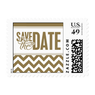Paris Metro - Save the Date - Gold Postage Stamp