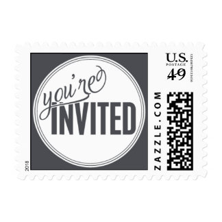 Paris Metro - You're Invited - Gray Postage Stamps