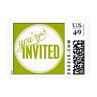 Paris Metro - You're Invited - Green Postage Stamps