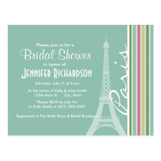 Paris; Mint Green & Pink Stripes Postcard