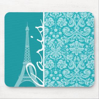 París; Modelo azulverde del damasco Alfombrilla De Raton