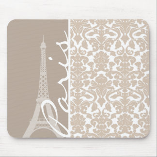 París; Modelo del damasco del color de la almendra Tapetes De Ratones