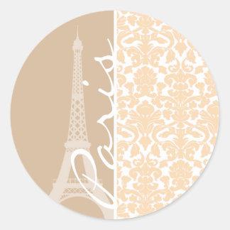 París; Modelo del damasco del color de la sopa de Pegatina Redonda