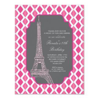 Paris Modern Pink Birthday Party Card