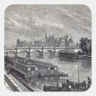 París moderna: El Pont Neuf, 1845 Pegatina Cuadrada