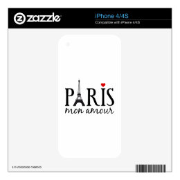 Paris mon amour with Eiffel tower iPhone 4S Decals