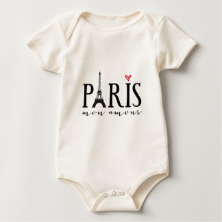 Paris mon amour with Eiffer tower Baby Bodysuit
