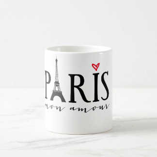 Paris mon amour with Eiffer tower Classic White Coffee Mug