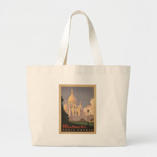Paris Montmartre Vintage Large Tote Bag