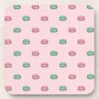 Paris Moon Macaron and polkadots Beverage Coaster