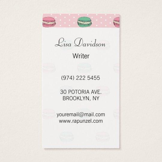 Paris Moon Macaron and polkadots Business Card