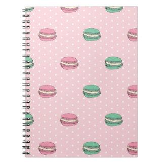 Paris Moon Macaron and polkadots Spiral Notebook